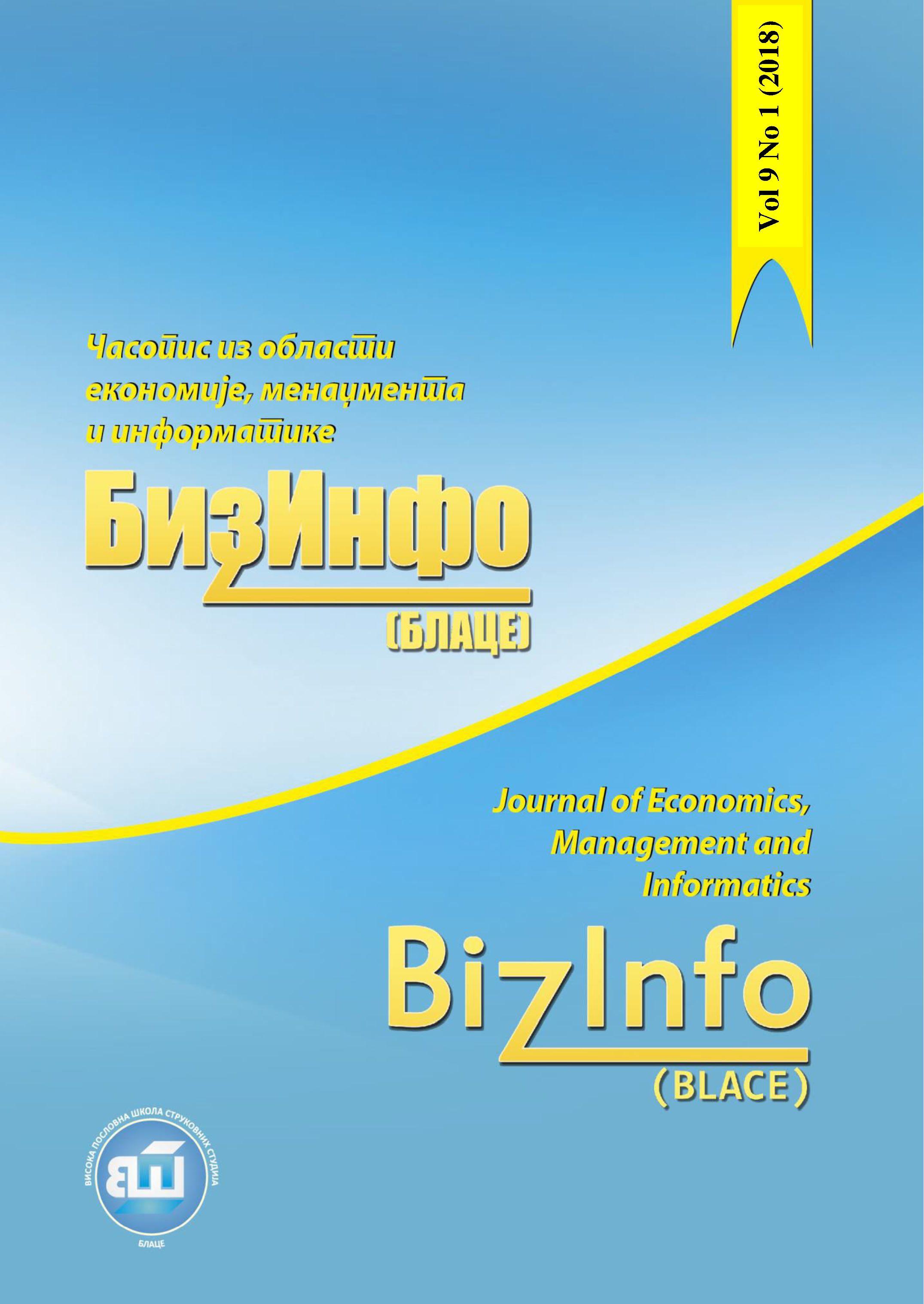 Vol 9 No 1 (2018): BizInfo (Blace) Journal of Economics, Management
